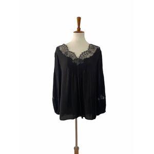 Joie Silk V Neck Lace Detail Blouse Black Large